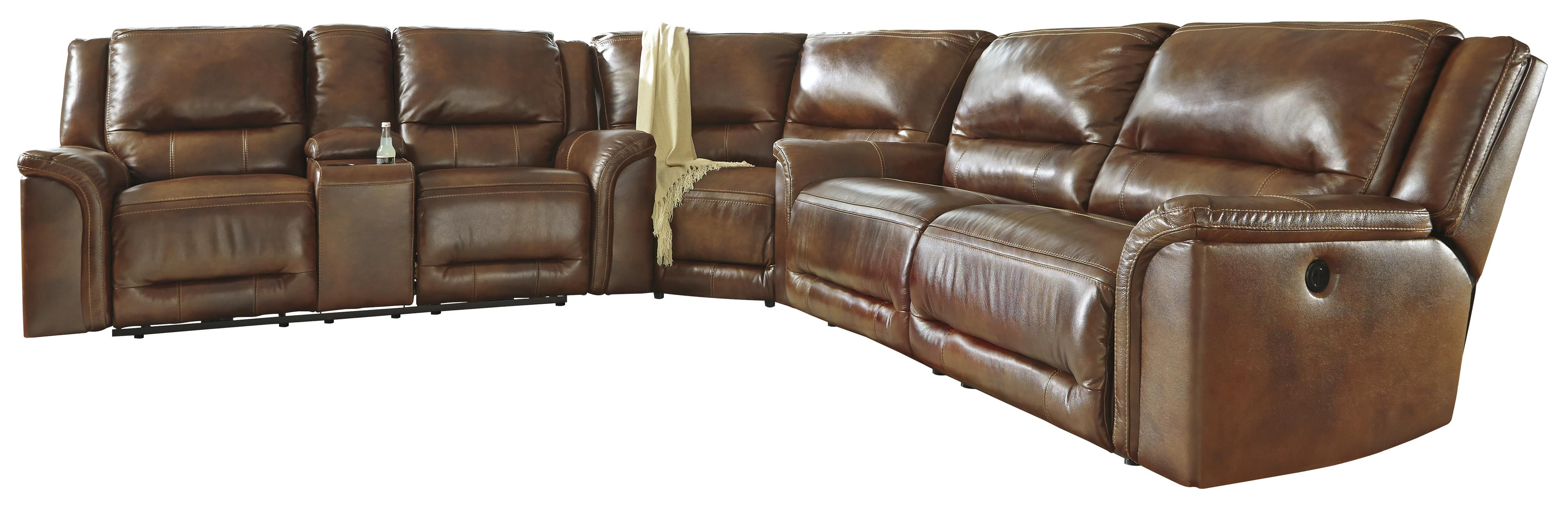 Signature Design by Ashley Jayron Power Reclining Sectional with Wedge - Item Number: U7660096+77+47