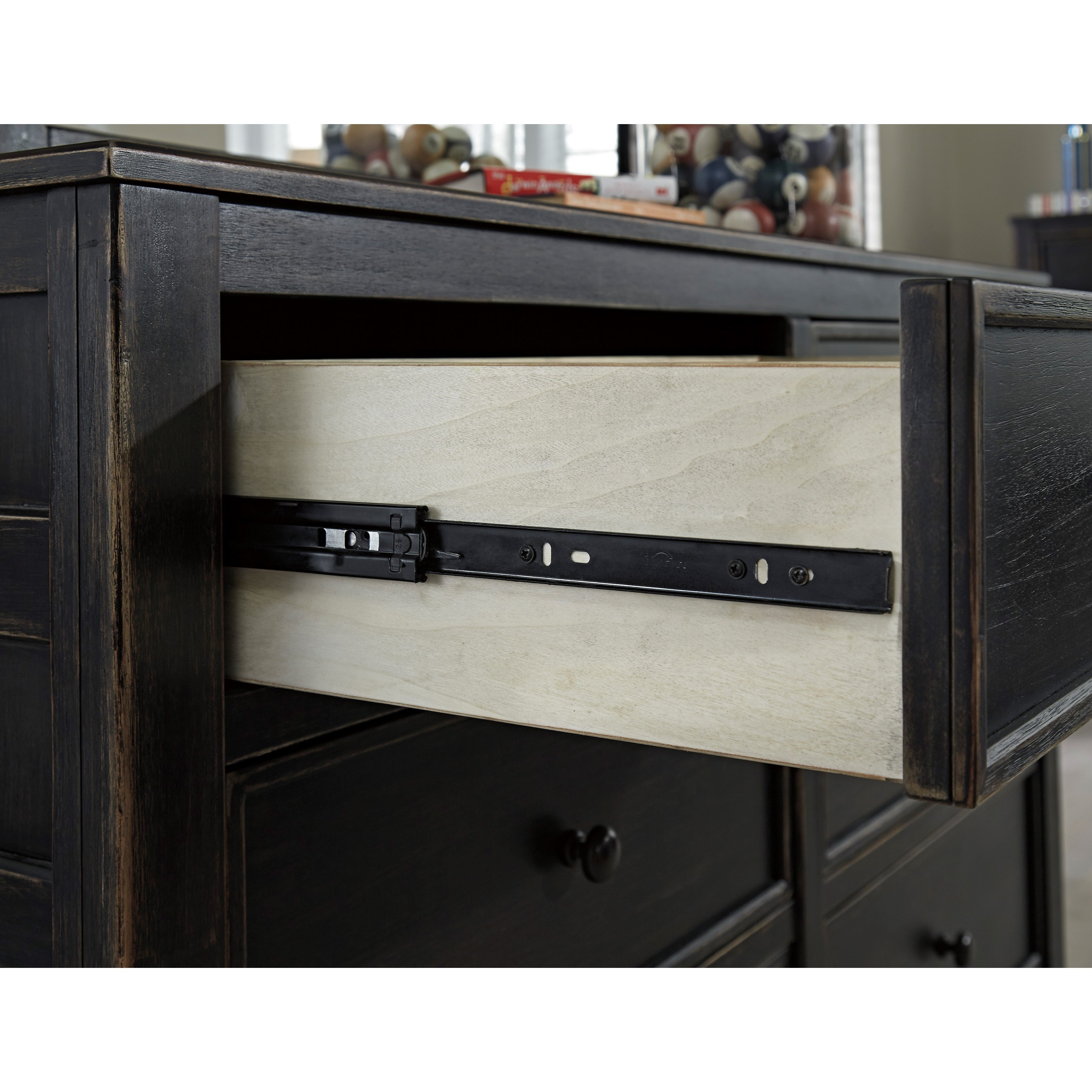 Signature Design By Ashley Jaysom Five Drawer Chest In Rub Through Black Finish Miskelly