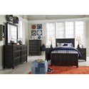 Signature Design by Ashley Jaysom Twin Panel Bed in Rub Through Black Finish
