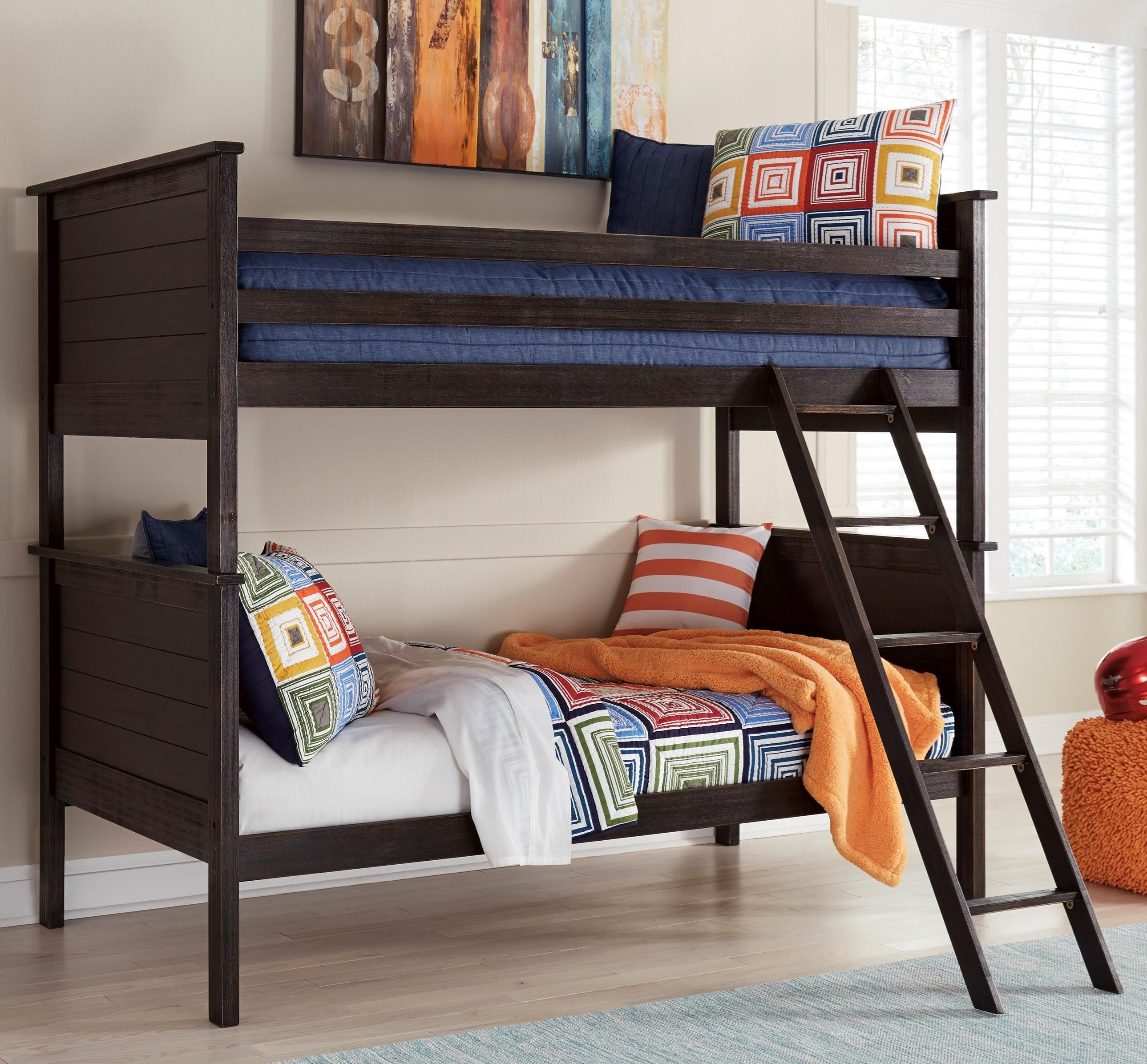Signature Design By Ashley Jaysom Twin Twin Bunk Bed In Rub Through