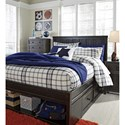 Signature Design by Ashley Jaysom Full Panel Storage Bed in Rub Through Black Finish