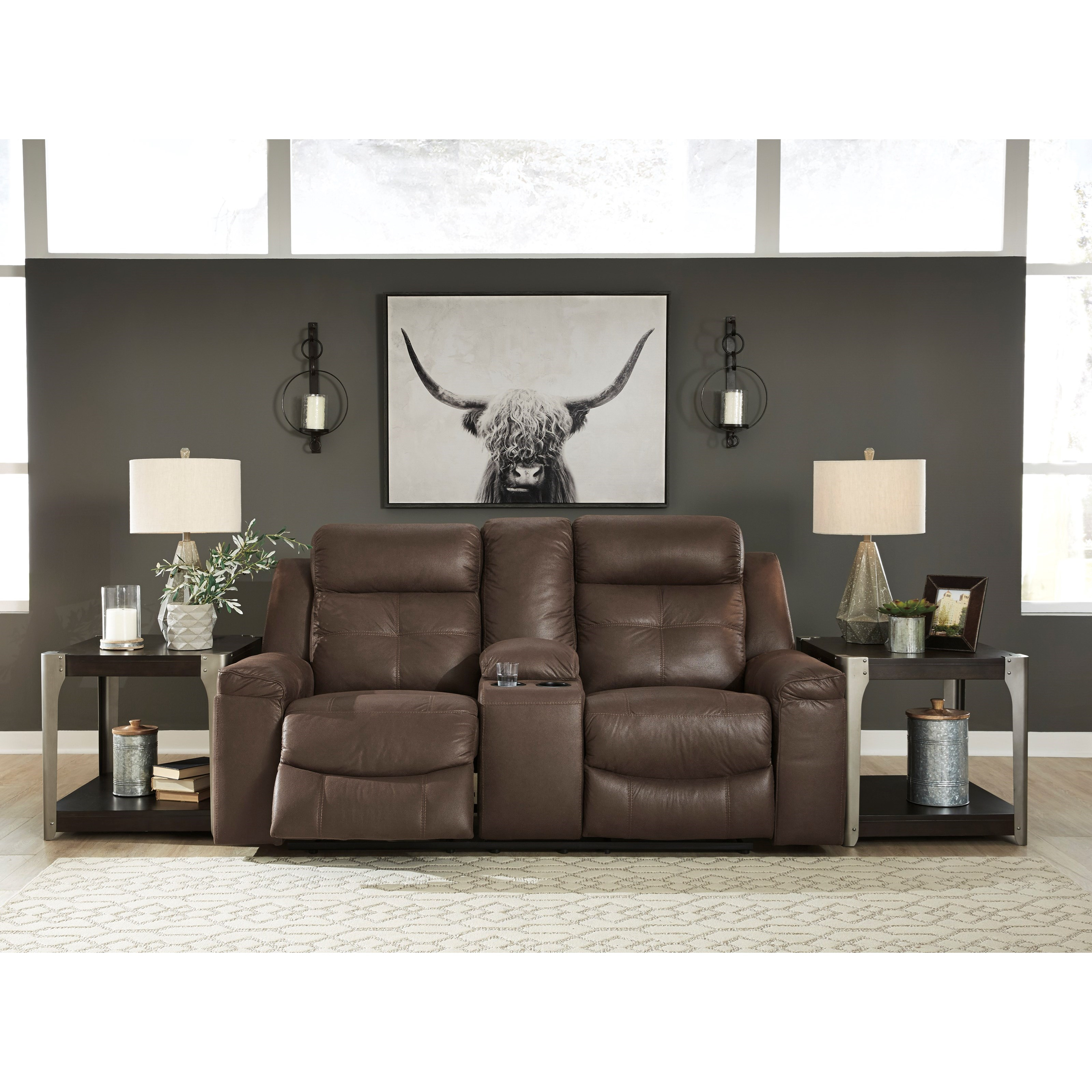 Jesolo Contemporary Double Reclining Loveseat With Console
