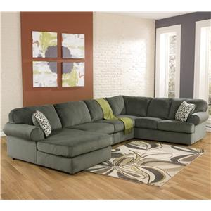 Signature Design by Ashley Jessa Place - Pewter Sectional Sofa with Left Chaise