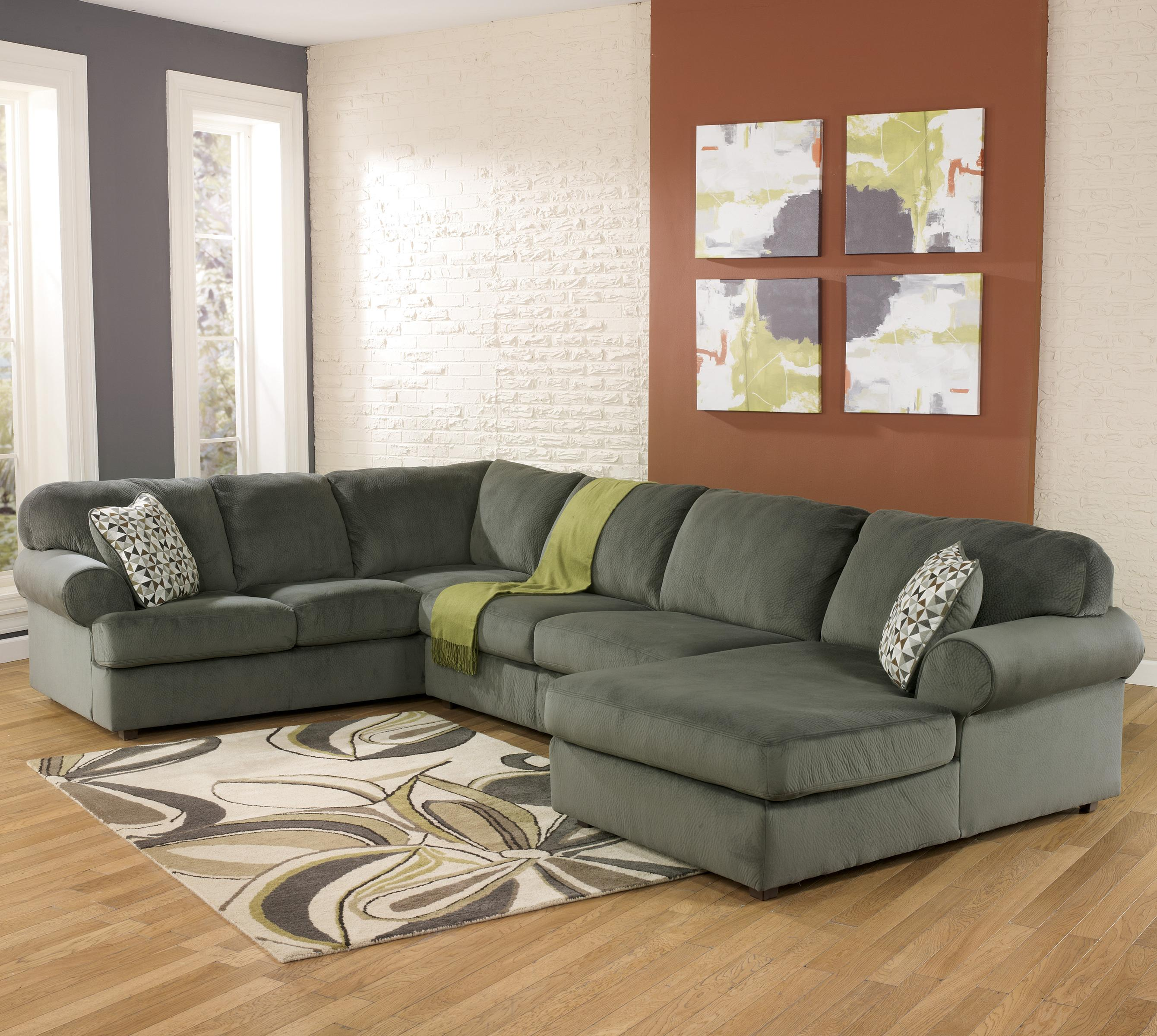 Ashley signature design jessa place pewter casual for Ashley chaise sectional