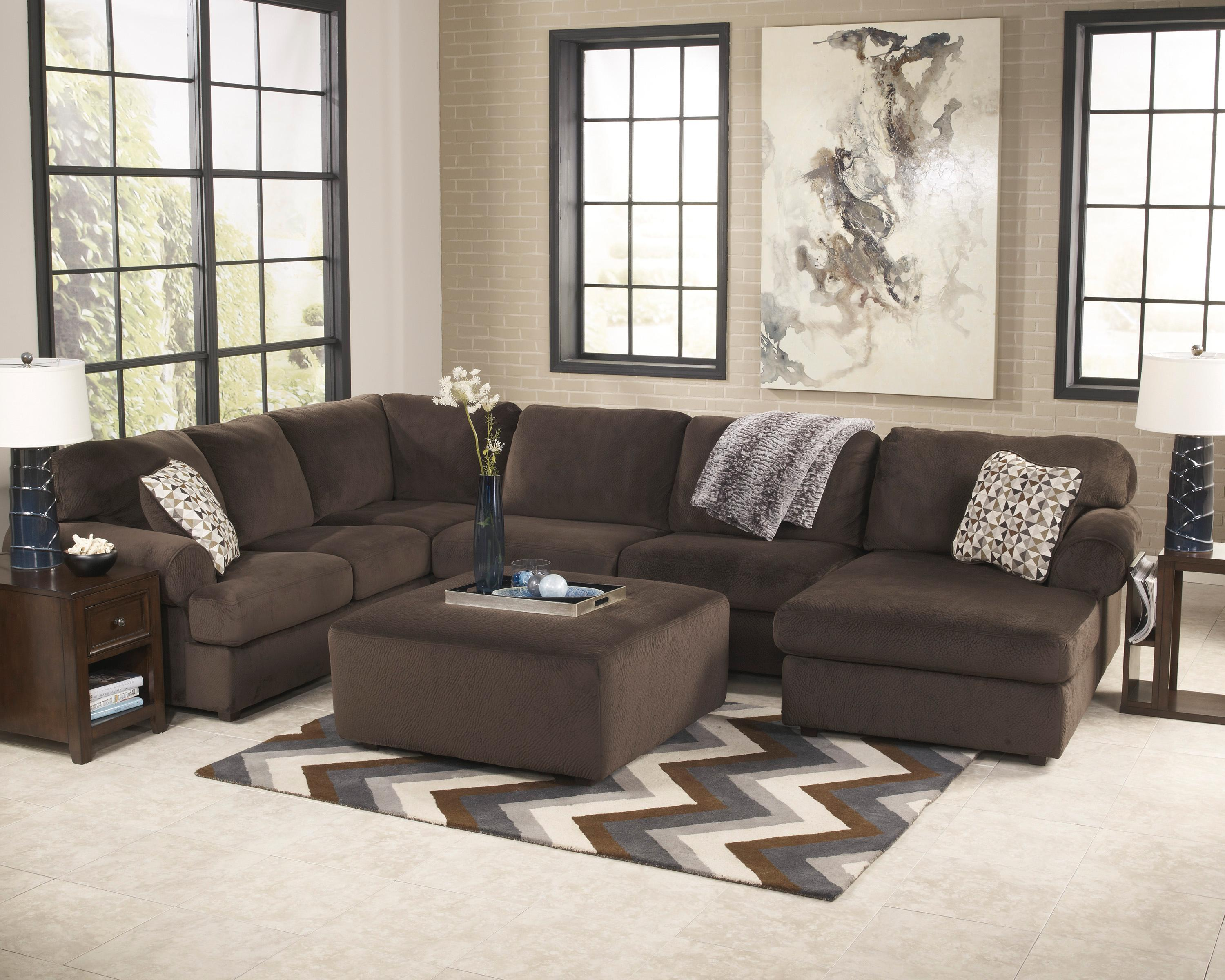 Signature Design by Ashley Jessa Place  - Chocolate Stationary Living Room Group - Item Number: 39804 Living Room Group 1