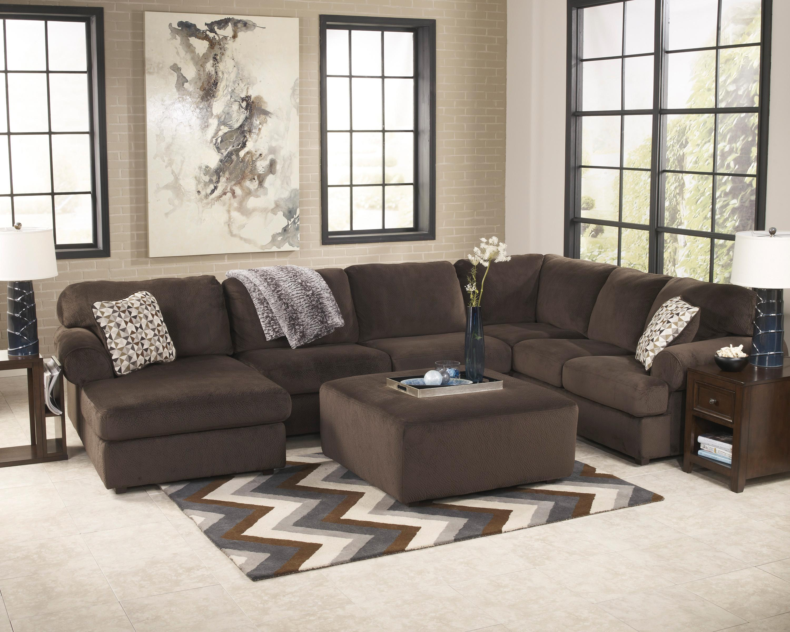 Signature Design by Ashley Jessa Place  - Chocolate Stationary Living Room Group - Item Number: 39804 Living Room Group 2