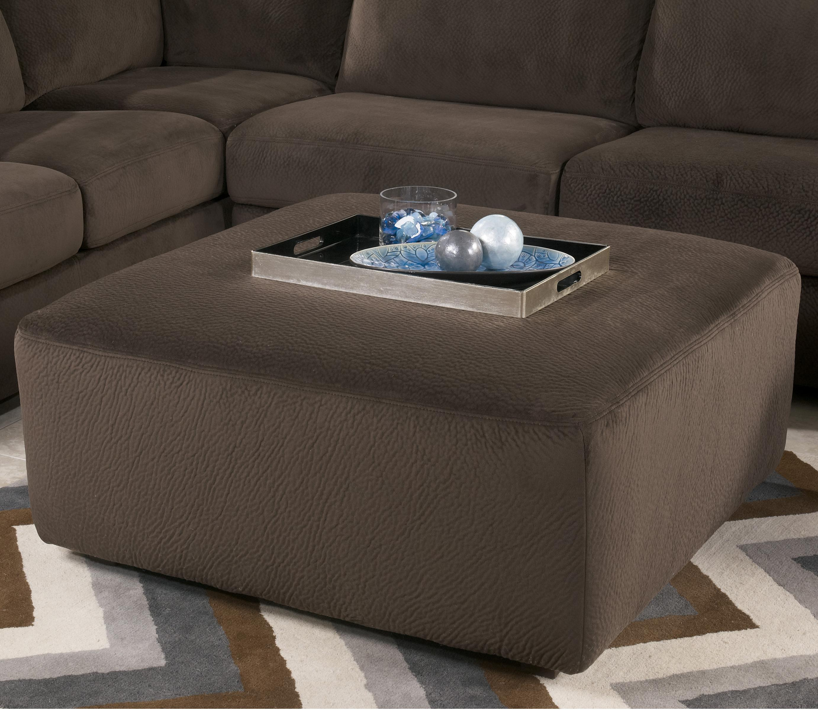 Signature Design by Ashley Jessa Place  - Chocolate Oversized Accent Ottoman - Item Number: 3980408
