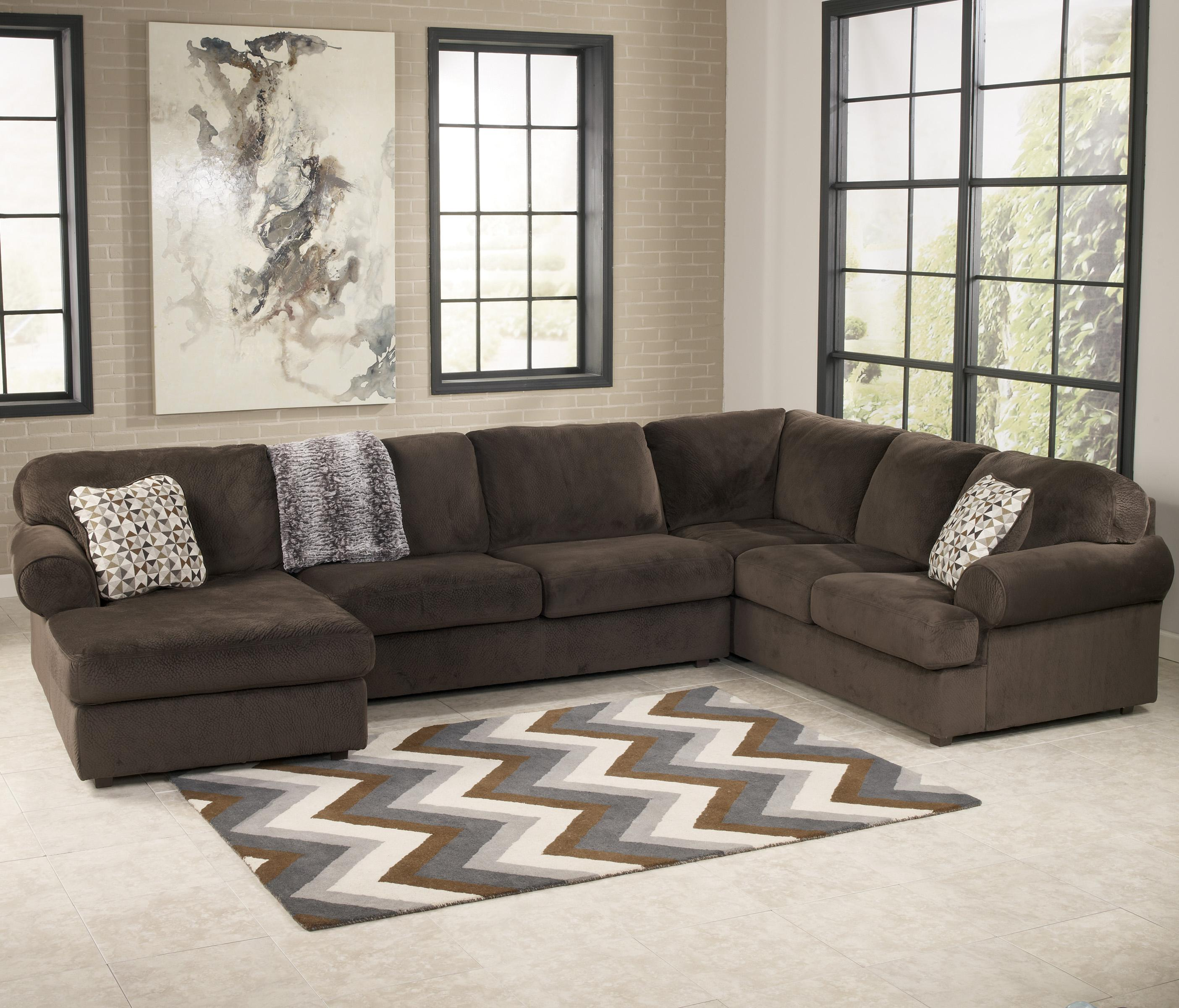 Signature Design by Ashley Jessa Place - Chocolate Sectional Sofa with Left Chaise - Item Number : ashley furniture chaise couch - Sectionals, Sofas & Couches