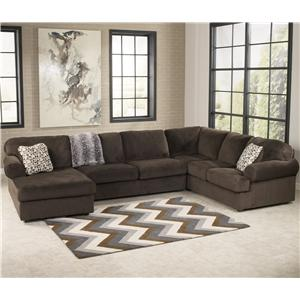 Ashley Signature Design Jessa Place - Chocolate Sectional Sofa with Left Chaise  sc 1 st  Dunk u0026 Bright Furniture : ashley leather sectional with chaise - Sectionals, Sofas & Couches