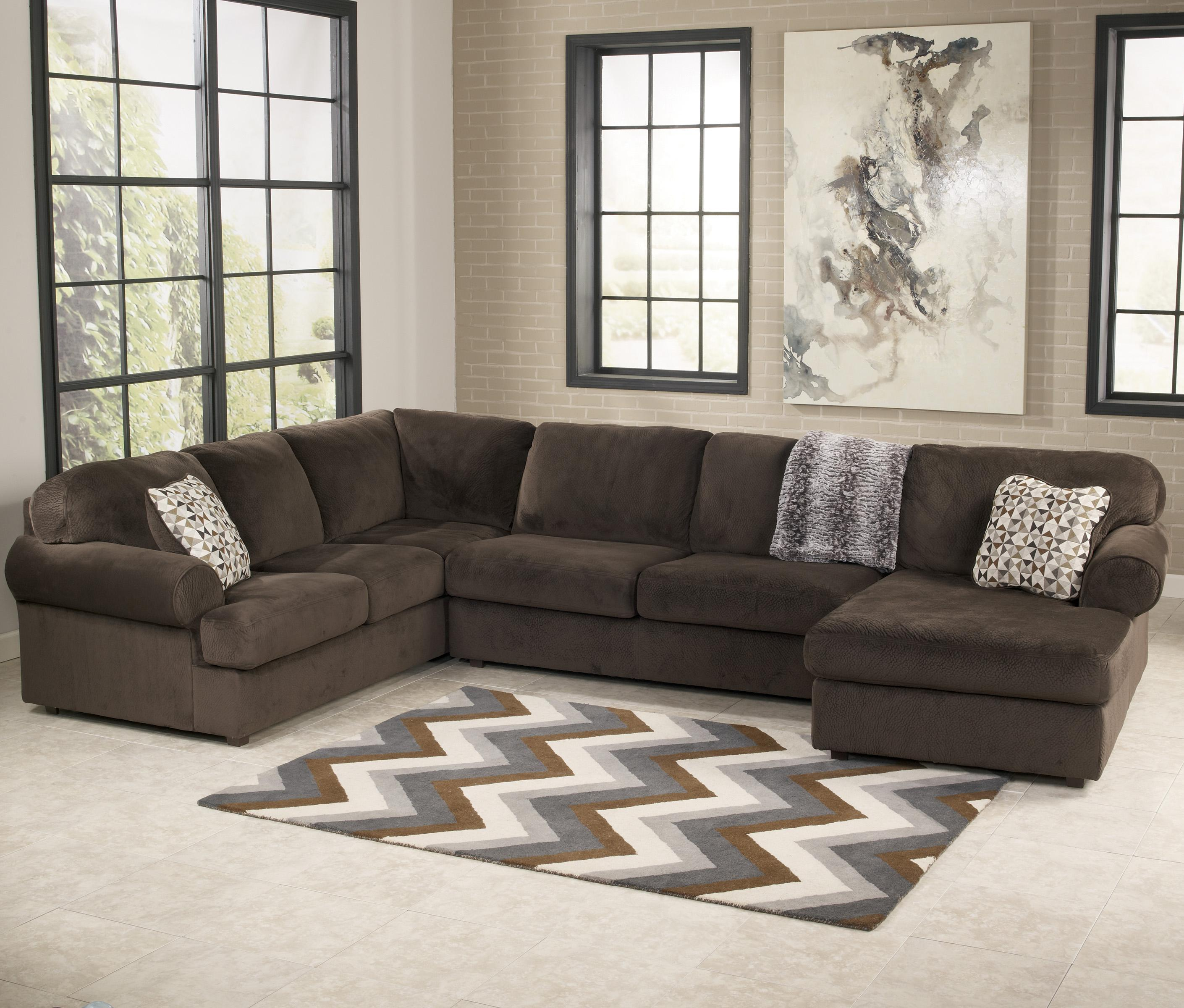 Signature Design by Ashley Jessa Place  - Chocolate Sectional Sofa with Right Chaise - Item Number: 3980466+34+17