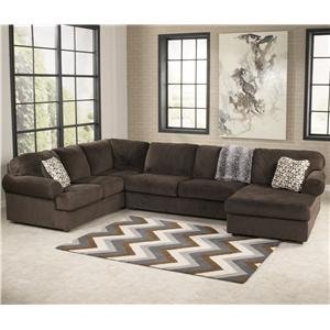 Signature Design by Ashley Jessa Place  - Chocolate Sectional Sofa with Right Chaise