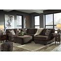 Signature Design by Ashley Jinllingsly Contemporary 3-Piece Sectional with Right Chaise in Corduroy Fabric