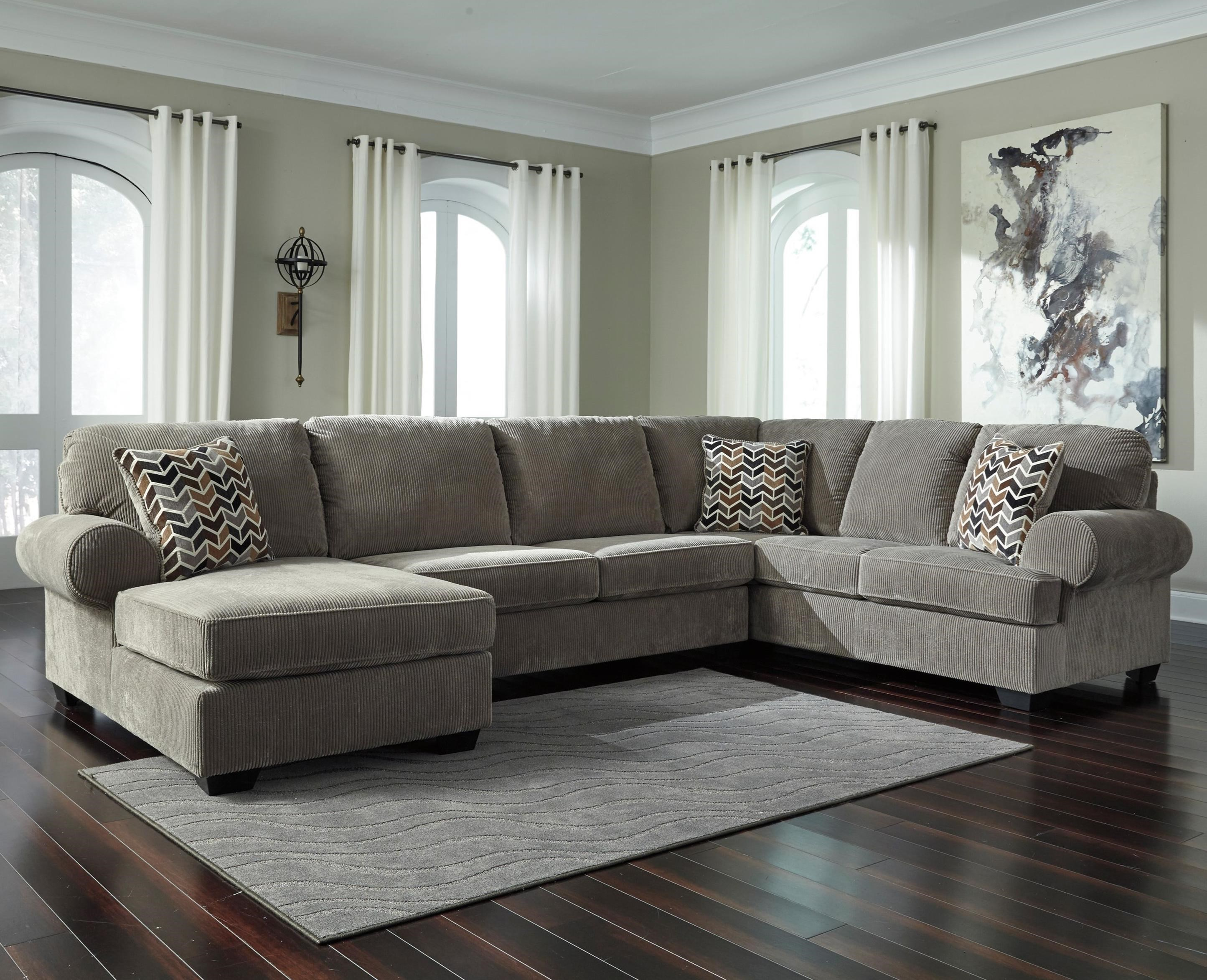 Signature design by ashley jinllingsly contemporary 3 for Ashley sectional sofa with chaise