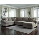 Signature Design by Ashley Jinllingsly 3-Piece Sectional with Chaise - Item Number: 7250266+34+17