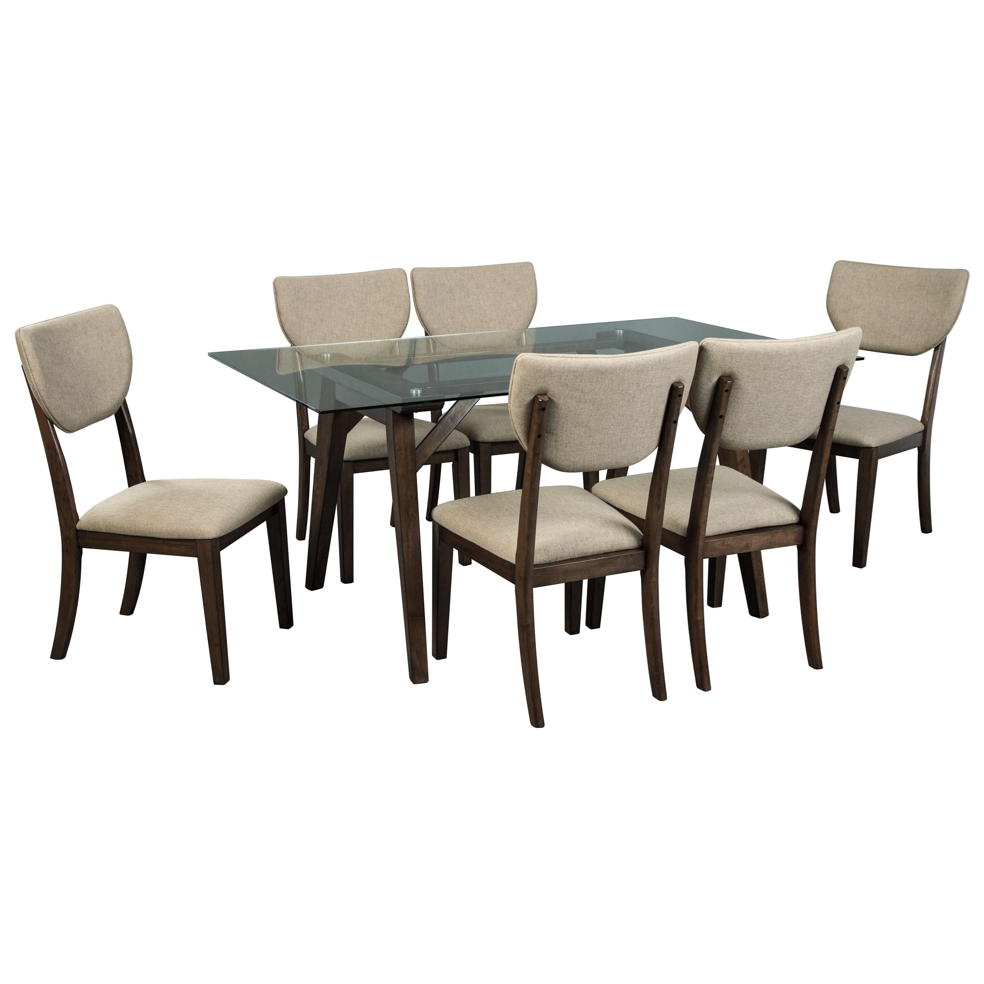 Signature Design by Ashley Joshton 7 Piece Rectangular Table Set - Item Number: D517-25+6x02