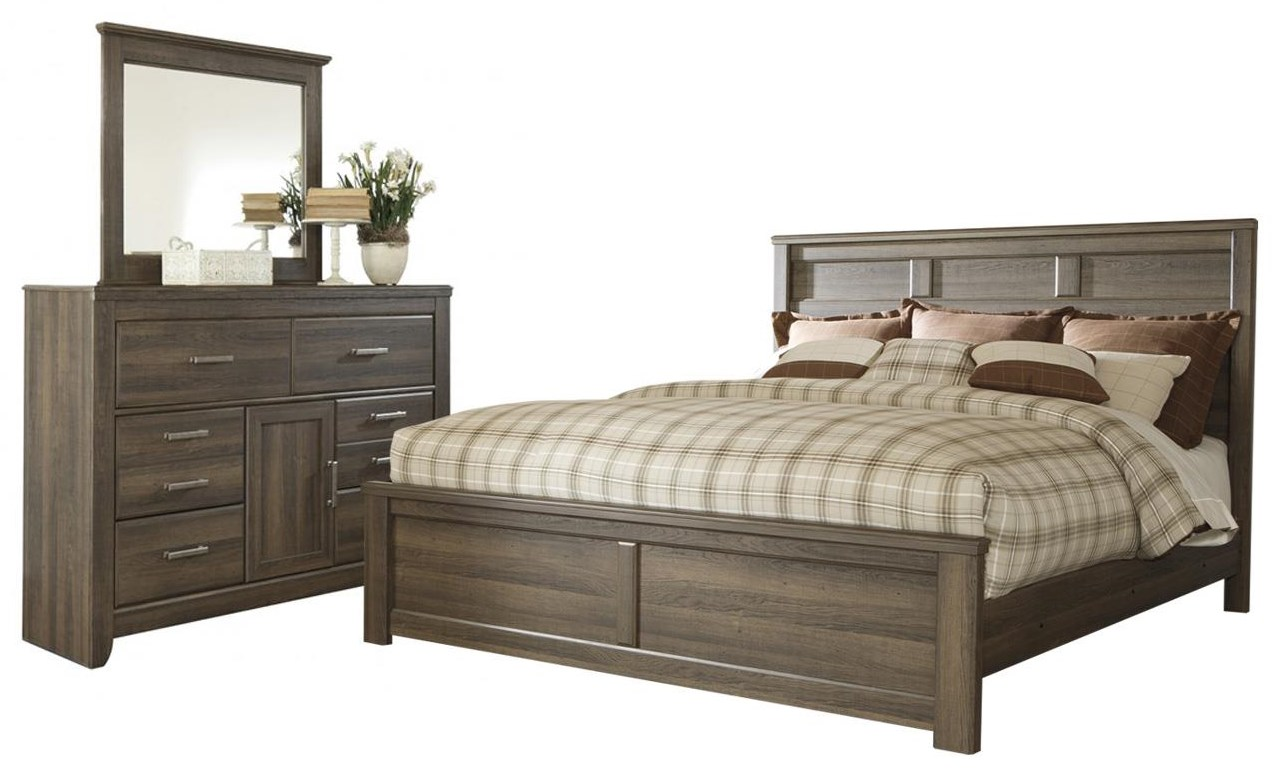 Juararo King Panel Bed, Dresser and Mirror by Ashley (Signature Design) at Johnny Janosik