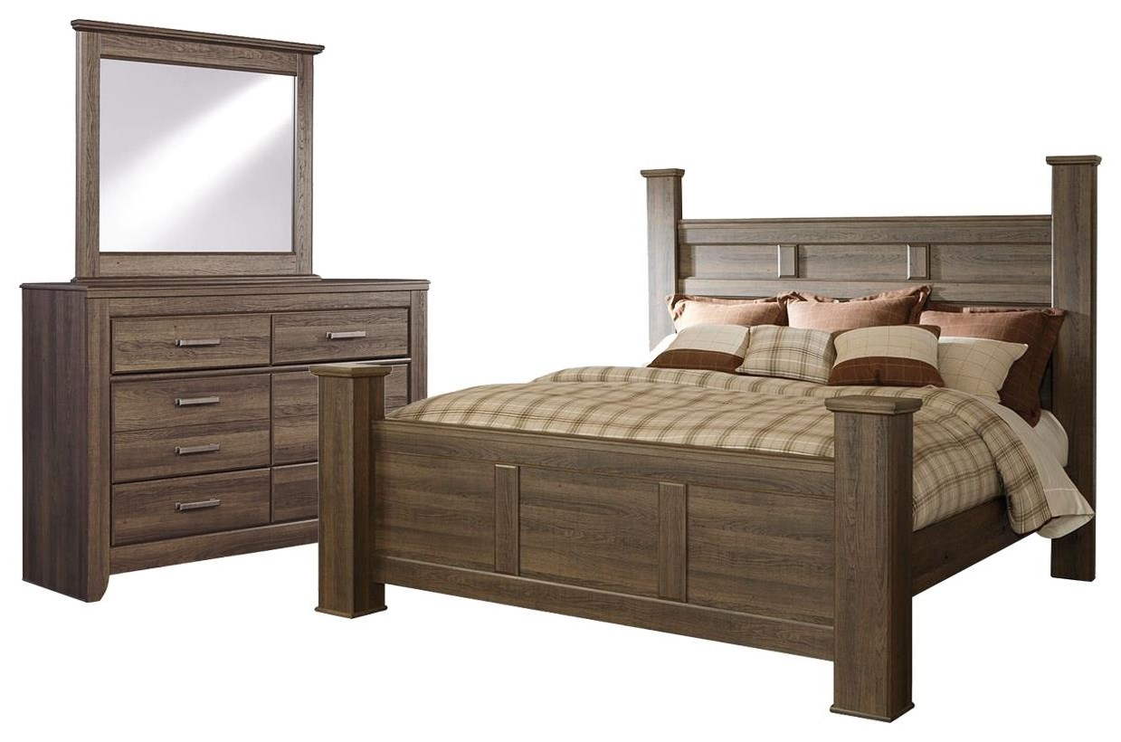Juararo King Poster Bed, Dresser and Mirror by Ashley (Signature Design) at Johnny Janosik