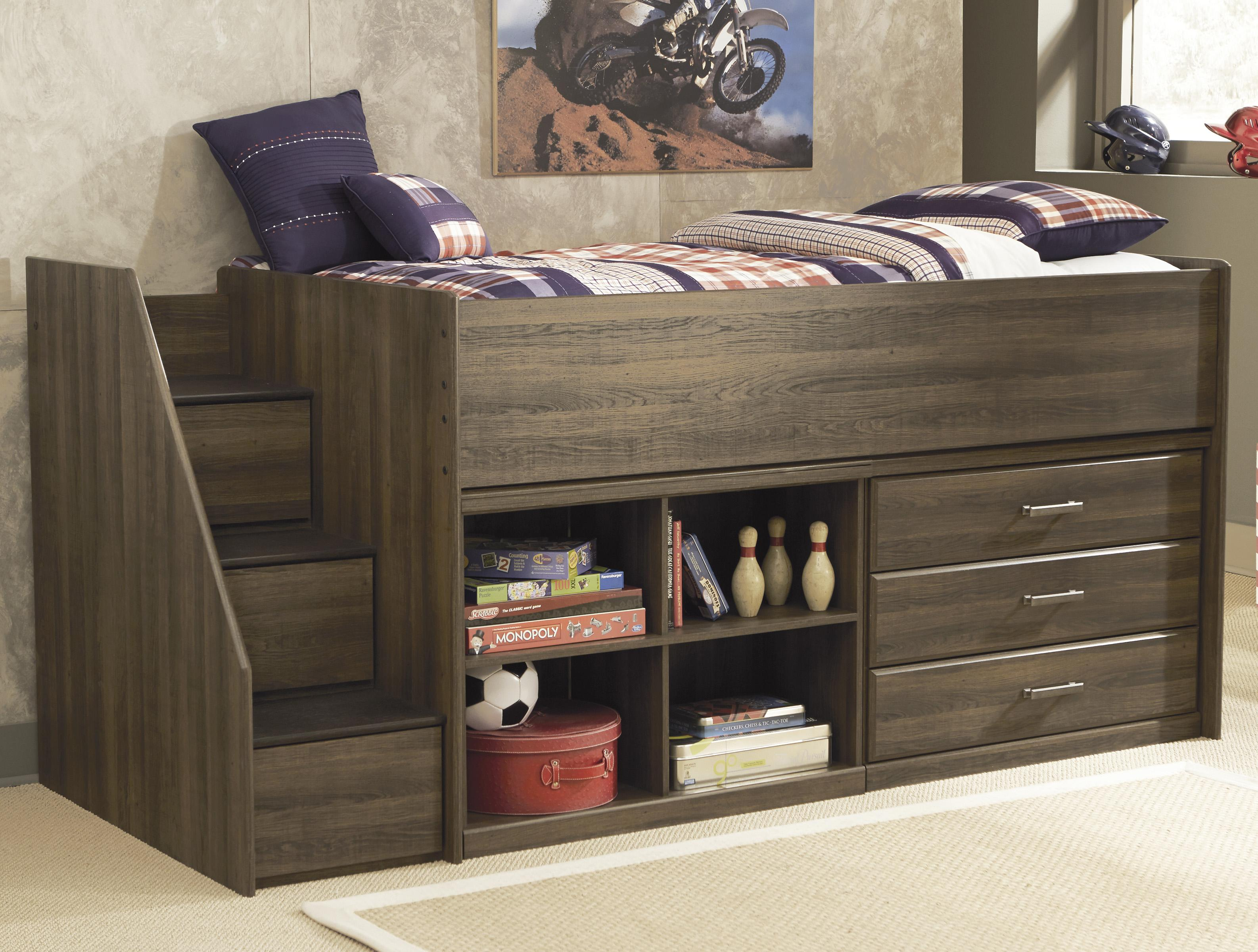 Signature Design by Ashley Juararo Twin Loft Bed with Left Storage Steps - Item Number: B251-13L+68T+17+19+B100-11