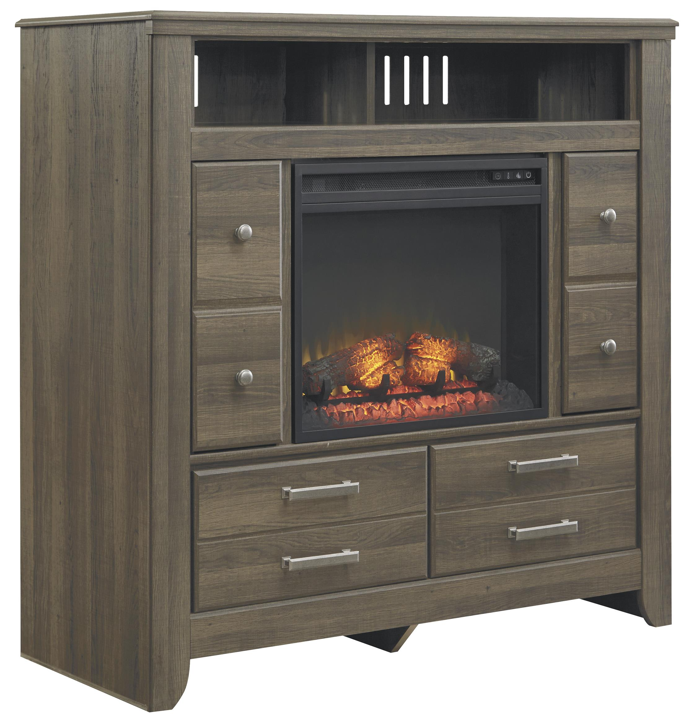 Signature Design by Ashley Juararo Media Chest with Electric Fireplace Insert - Item Number: B251-49+W100-01