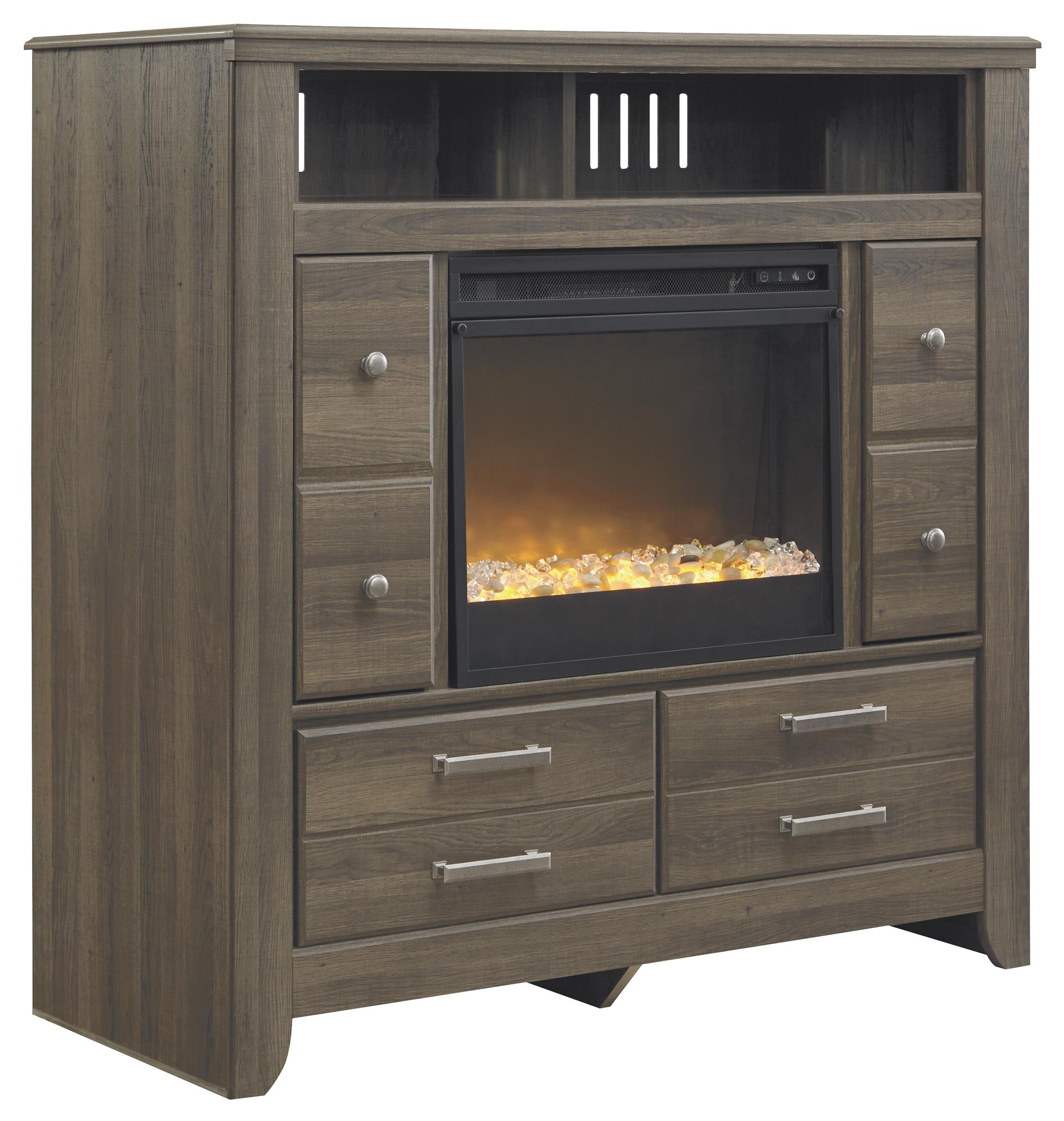 Signature Design by Ashley Juararo Media Chest with Electric Fireplace Insert - Item Number: B251-49+W100-02