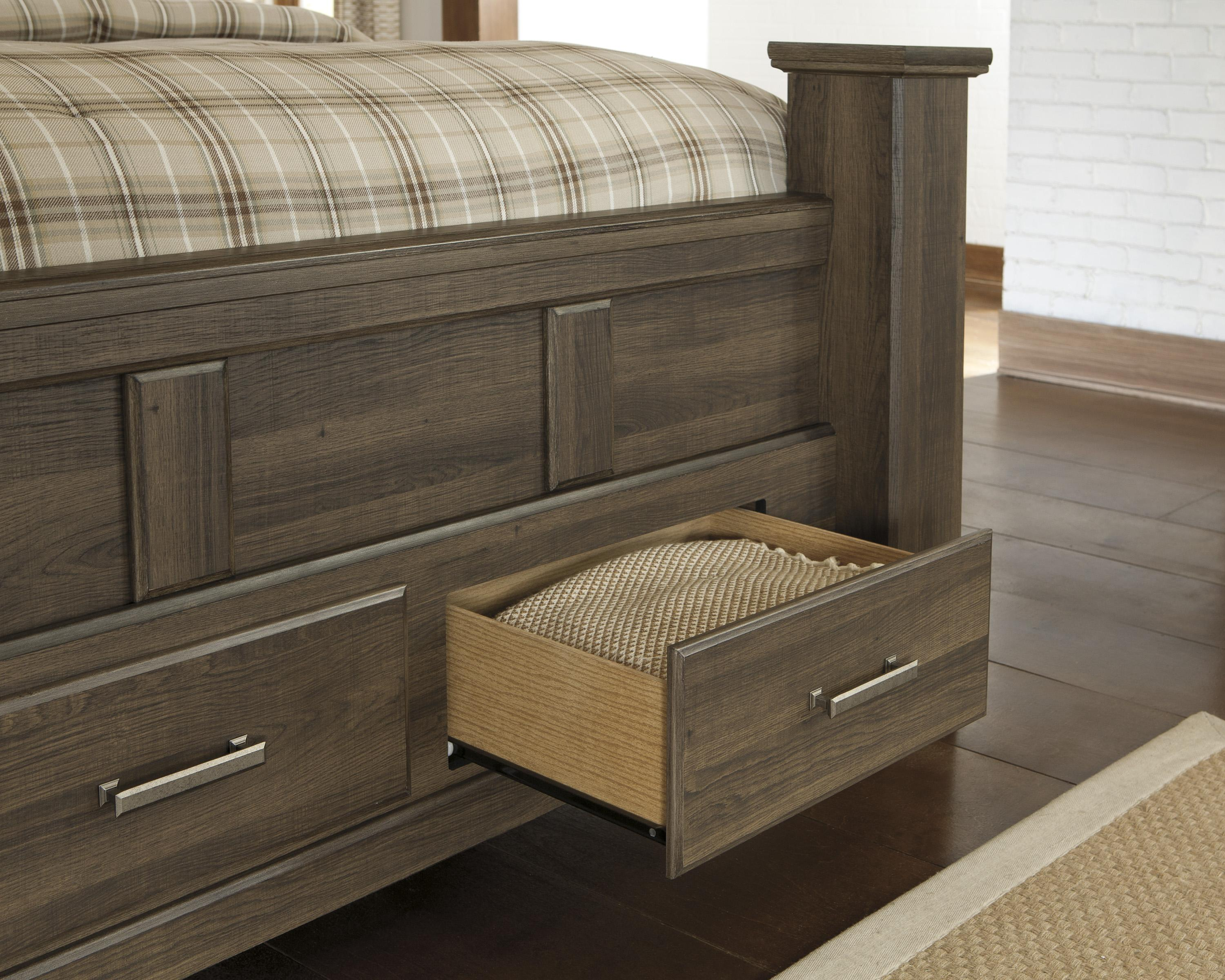 Signature Design by Ashley Juararo Transitional Queen Poster Bed with Footboard Storage ...