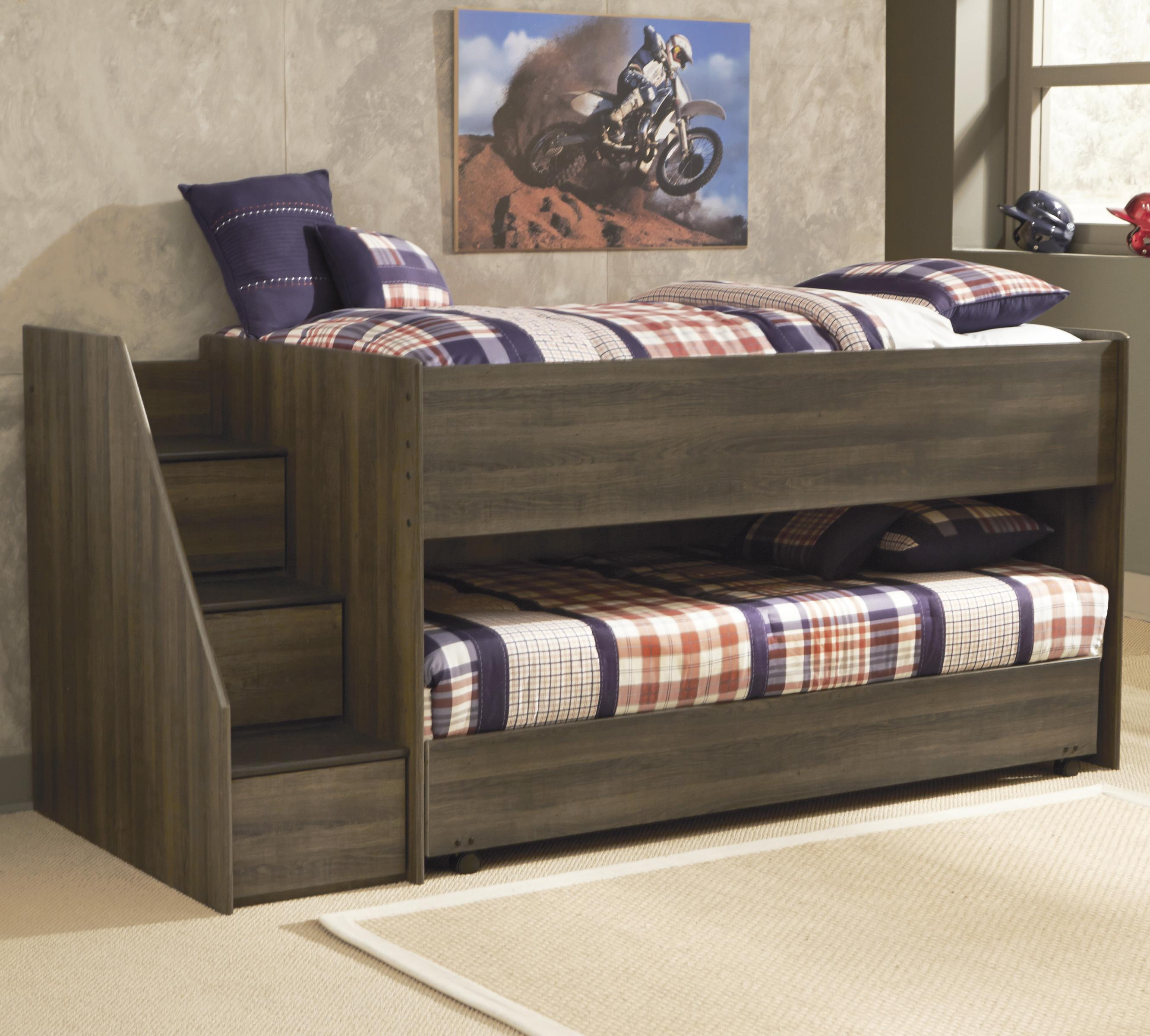 Signature Design by Ashley Juararo Twin Loft Bed w/ Left Steps & Caster Bed - Item Number: B251-68B+68T+13L+2xB100-11