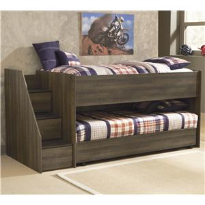 Signature Design by Ashley Juararo Twin Loft Bed w/ Left Steps & Caster Bed