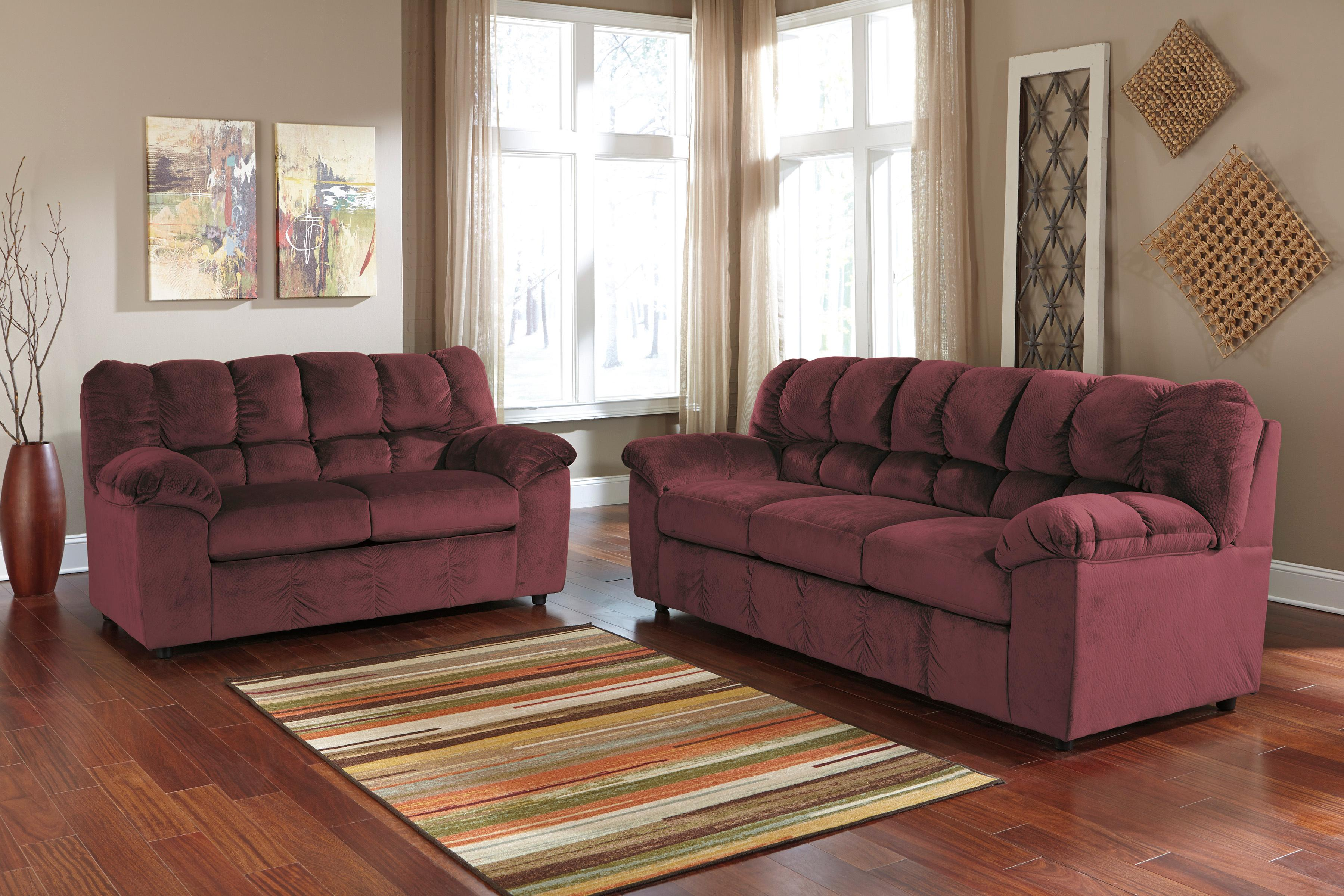 Signature Design by Ashley Julson - Burgundy Stationary Living Room Group - Item Number: 26602 Living Room Group 1
