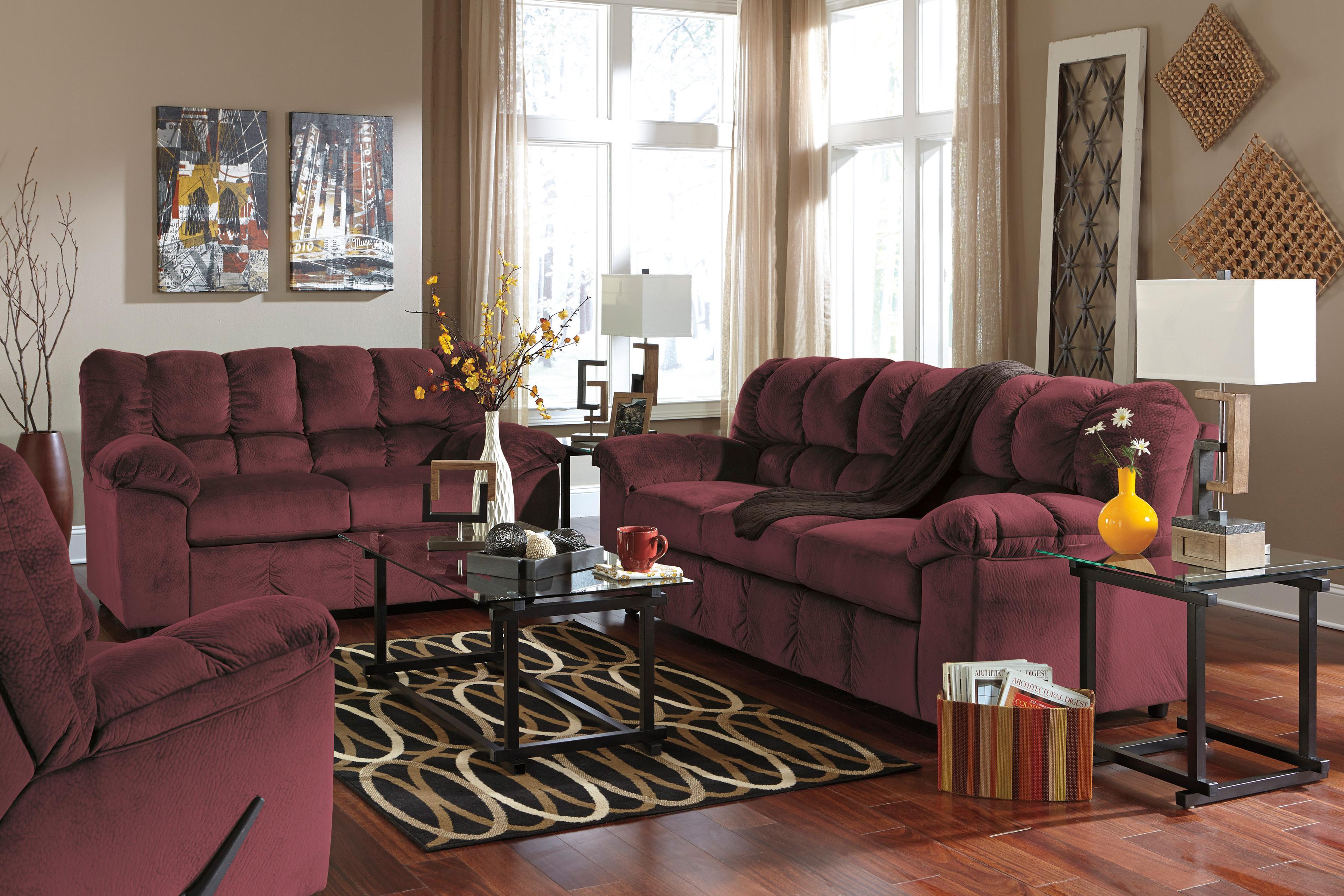 Signature Design by Ashley Julson - Burgundy Stationary Living Room Group - Item Number: 26602 Living Room Group 2