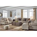 Signature Design by Ashley Kananwood Loveseat with Rolled Arms and Bun Feet
