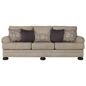 Queen Sofa Sleeper with Rolled Arms and Memory Foam Mattress