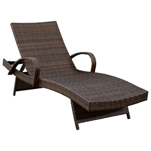 Adjustable Resin Wicker Chaise Lounge with Arms