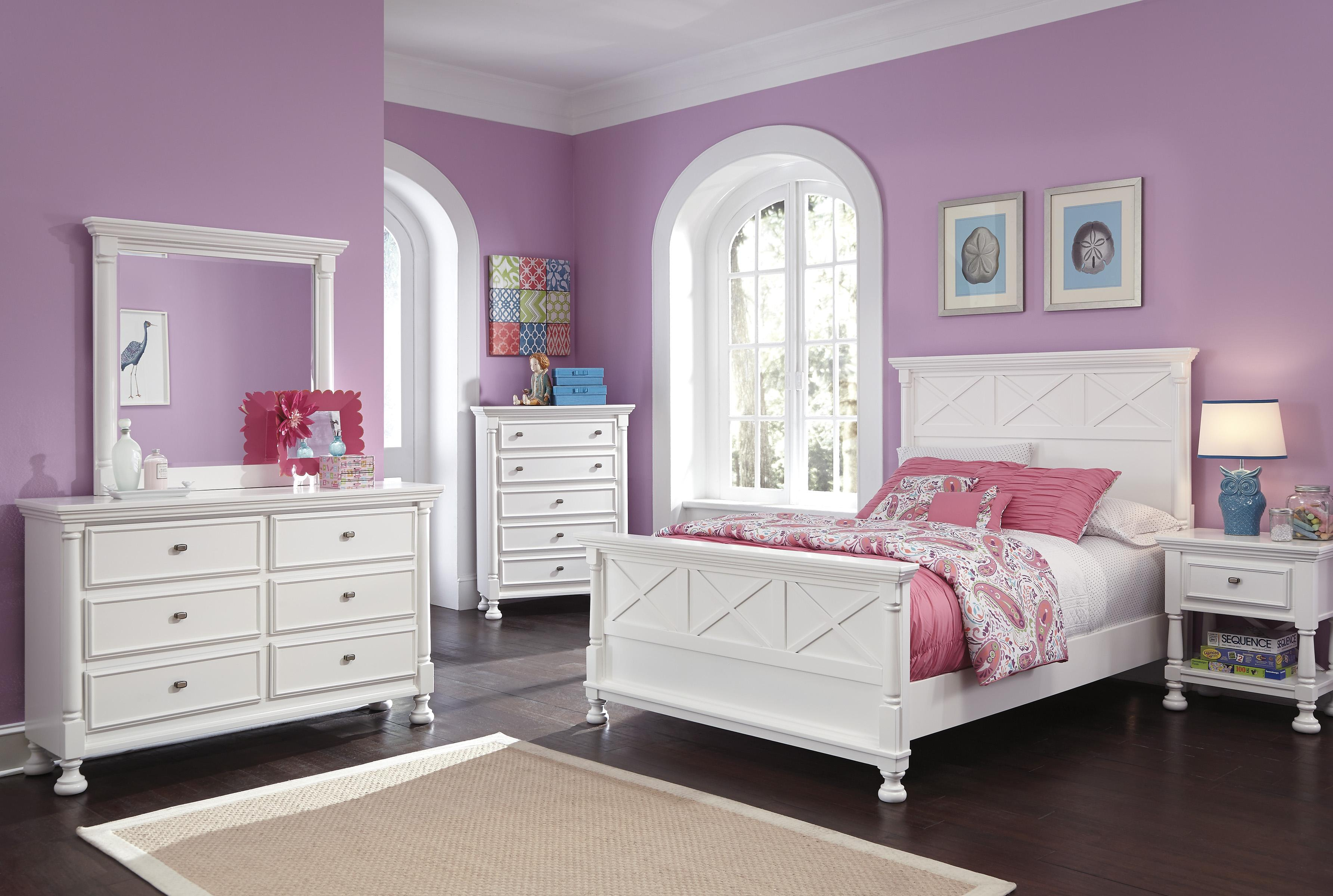Signature design by ashley kaslyn bright white full panel - Ashley furniture full bedroom sets ...