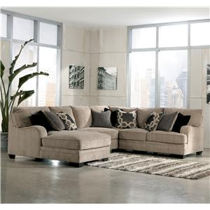 Signature Design by Ashley Furniture Katisha - Platinum 4-Piece Sectional Sofa with Left Chaise