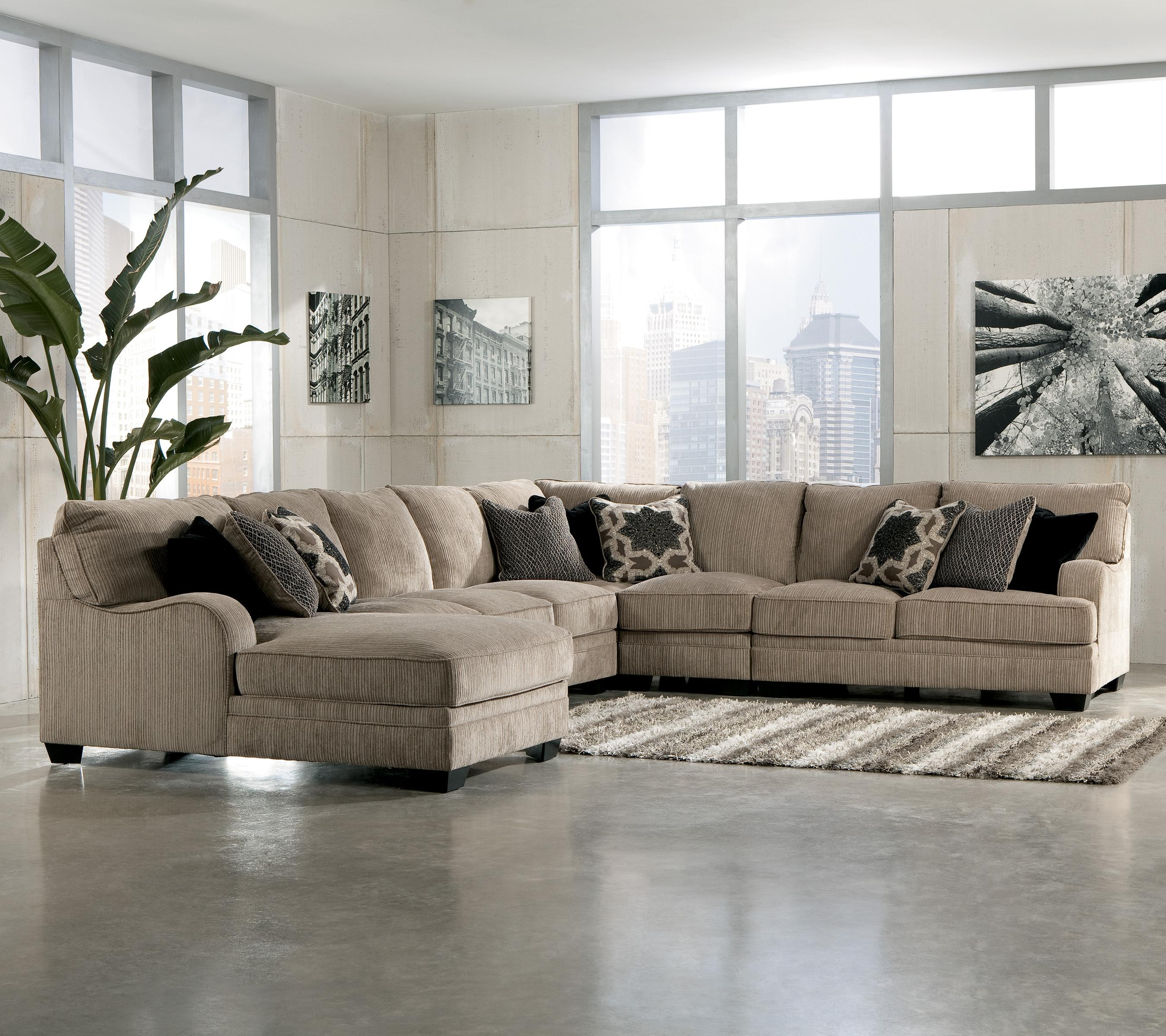 signature design by ashley katisha platinum 5 piece sectional sofa rh catalog findyourfurniture com Ashley Furniture Leather Sectional Couch Ashley Reclining Sectional with Chaise