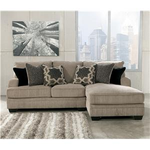 Gentil Signature Design By Ashley Katisha   Platinum 2 Piece Sectional With Right  Chaise