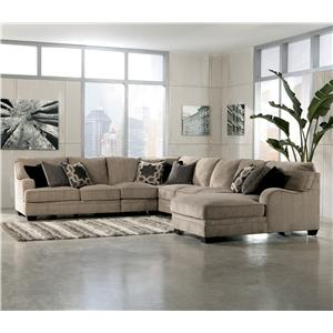 Signature Design by Ashley Katisha - Platinum 5-Piece Sectional Sofa with Right Chaise