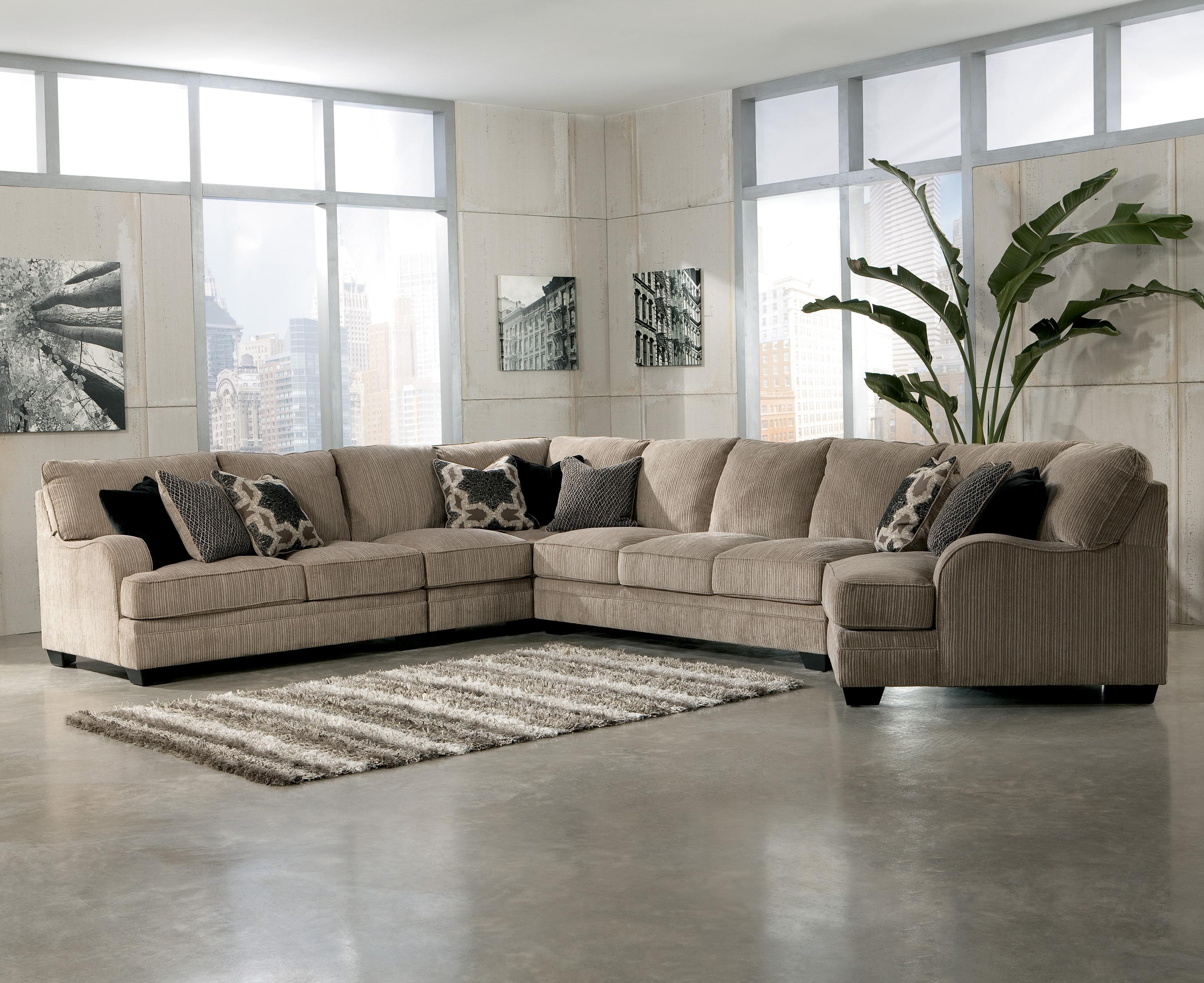 Signature Design by Ashley Katisha - Platinum 5-Piece Sectional Sofa with Right Cuddler - AHFA - Sofa Sectional Dealer Locator : sectional sofa cuddler - Sectionals, Sofas & Couches