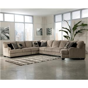 Signature Design by Ashley Furniture Katisha - Platinum 5-Piece Sectional Sofa with Right Cuddler