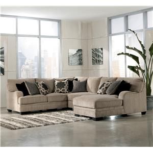 Signature Design by Ashley Katisha - Platinum 4-Piece Sectional Sofa with Right Chaise
