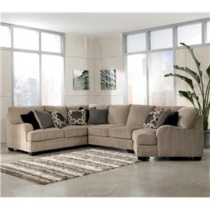 Signature Design by Ashley Furniture Katisha - Platinum 4-Piece Sectional Sofa with Right Cuddler