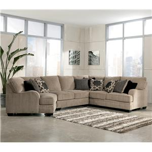 Signature Design by Ashley Katisha - Platinum 4-Piece Sectional Sofa with Left Cuddler