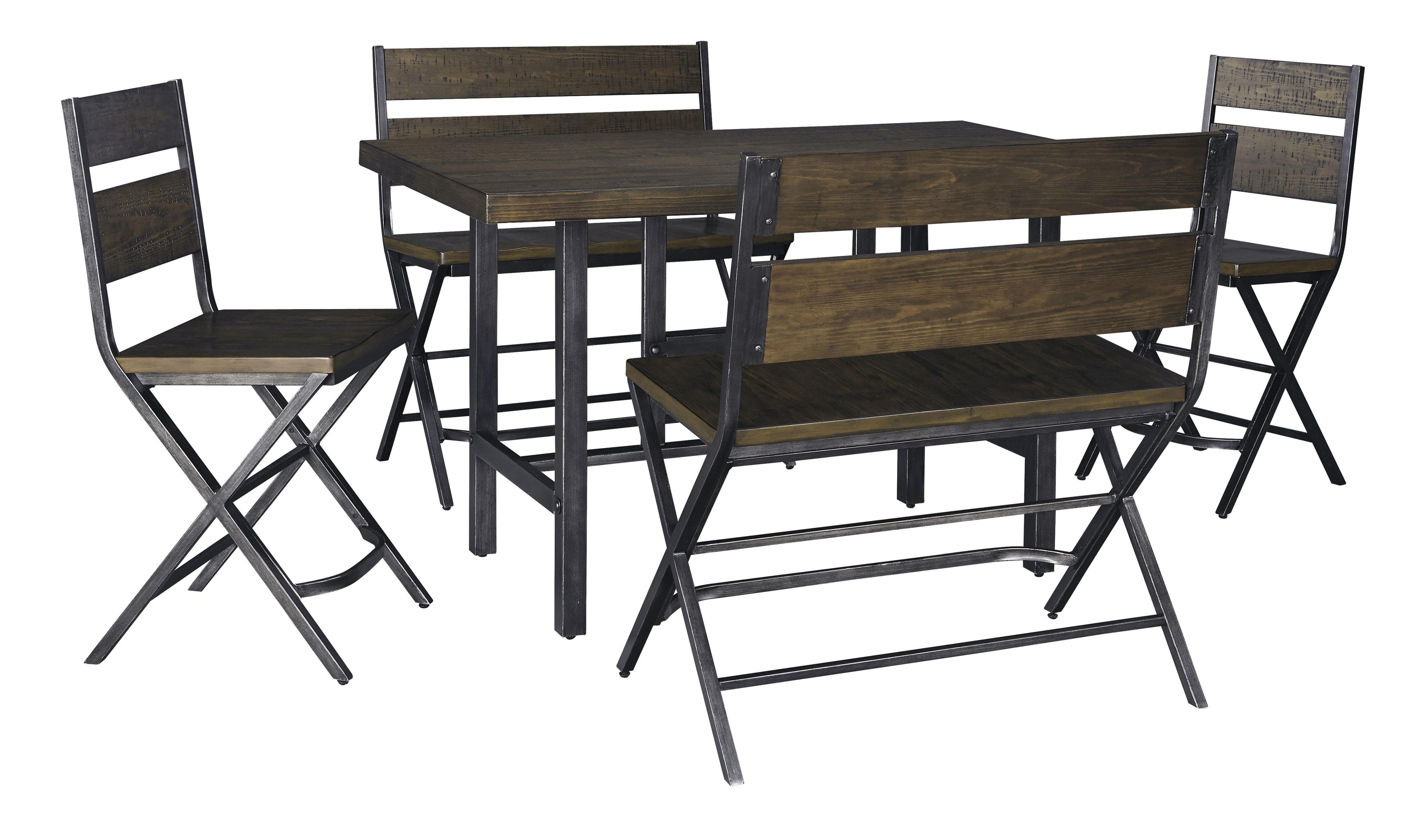 Signature Design by Ashley Kavara 5-Piece Counter Table & Double Bar Stool Set - Item Number: D469-13+2x124+2x323