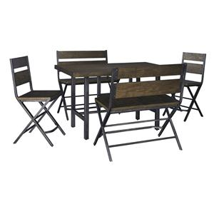 Signature Design by Ashley Kavara 5-Piece Counter Table & Double Bar Stool Set