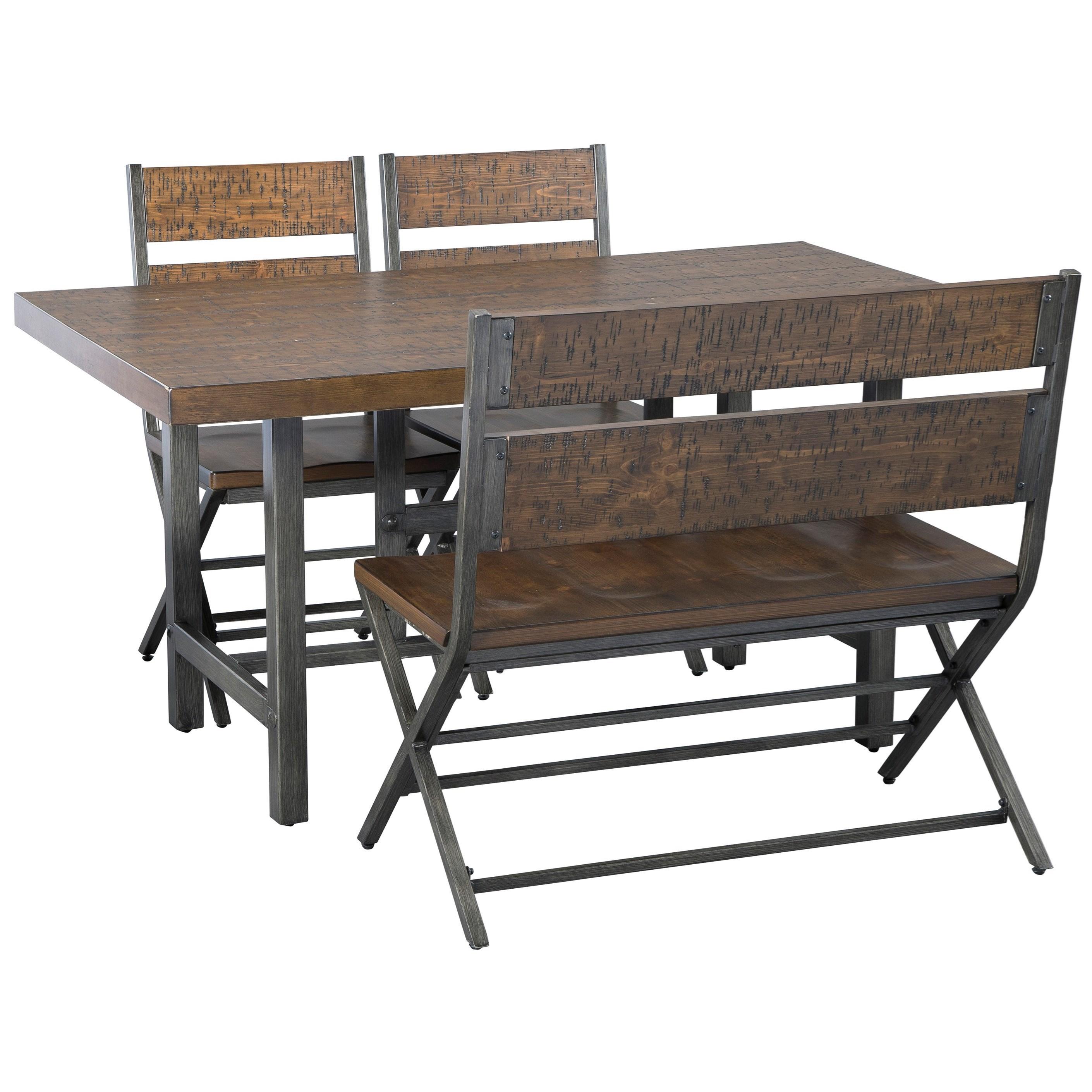 4-Piece Rectangular Table Set with Bench