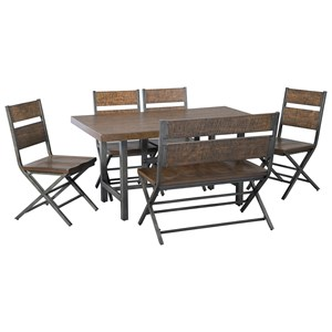Benchcraft Kavara 6-Piece Rectangular Table Set with Bench