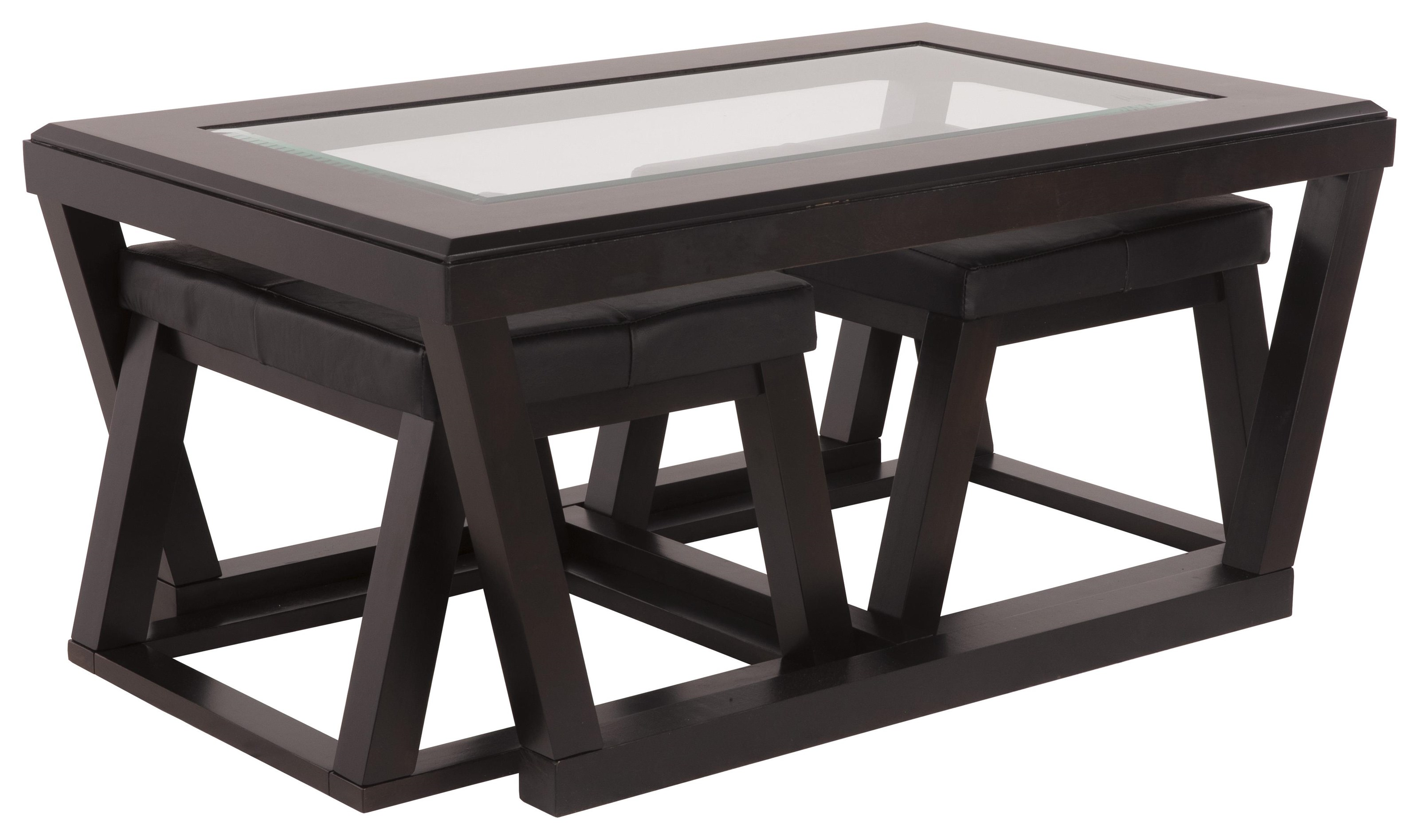 Cocktail Table with 2 Ottomans