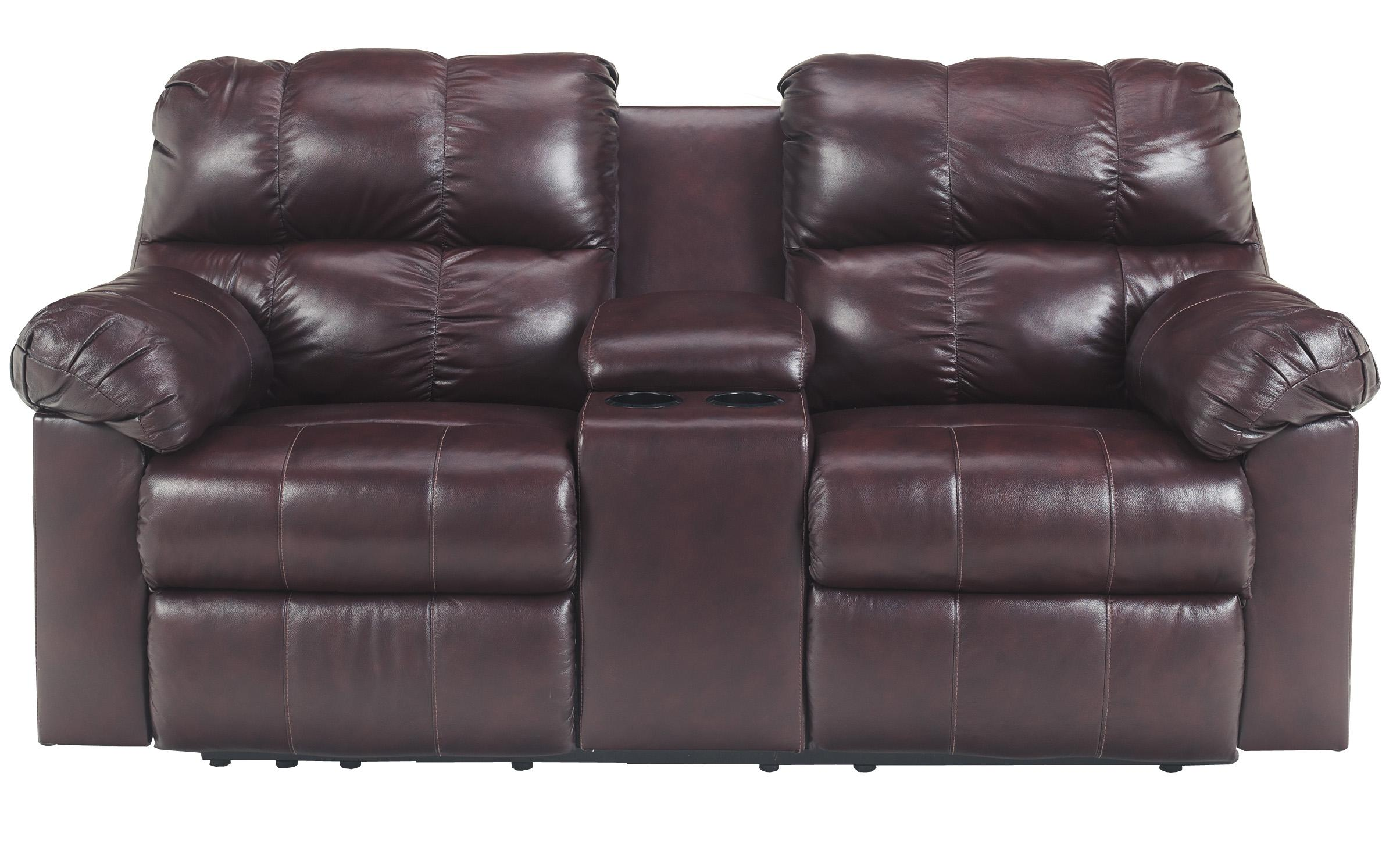 Signature Design by Ashley Kennard - Burgundy Dbl Rec Love Seat w/Console - Item Number: 2900094
