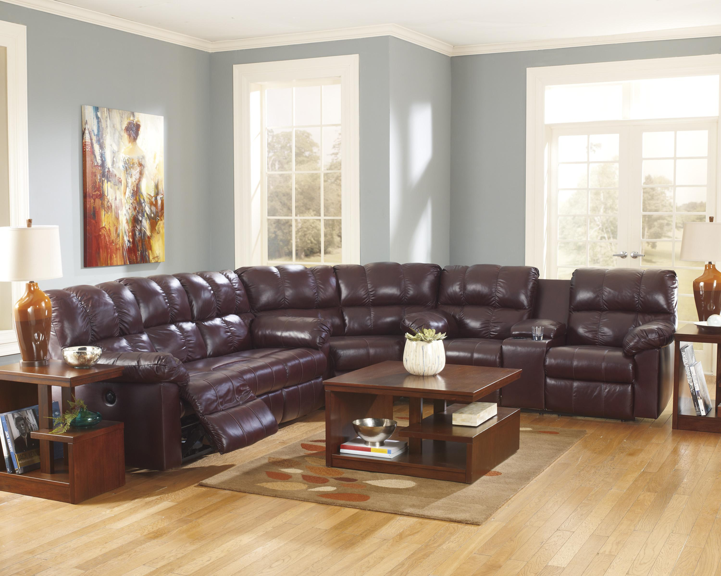 Signature Design by Ashley Kennard - Burgundy Reclining Sectional Sofa - Item Number: 2900094+88+77