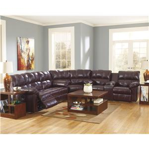 Signature Design by Ashley Kennard - Burgundy Reclining Sectional Sofa
